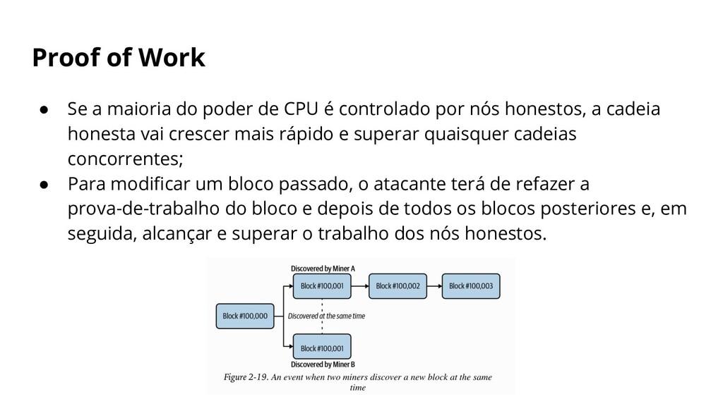 Proof of Work ● Se a maioria do poder de CPU é ...