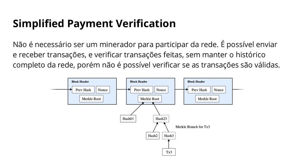 Simplified Payment Verification Não é necessário ...
