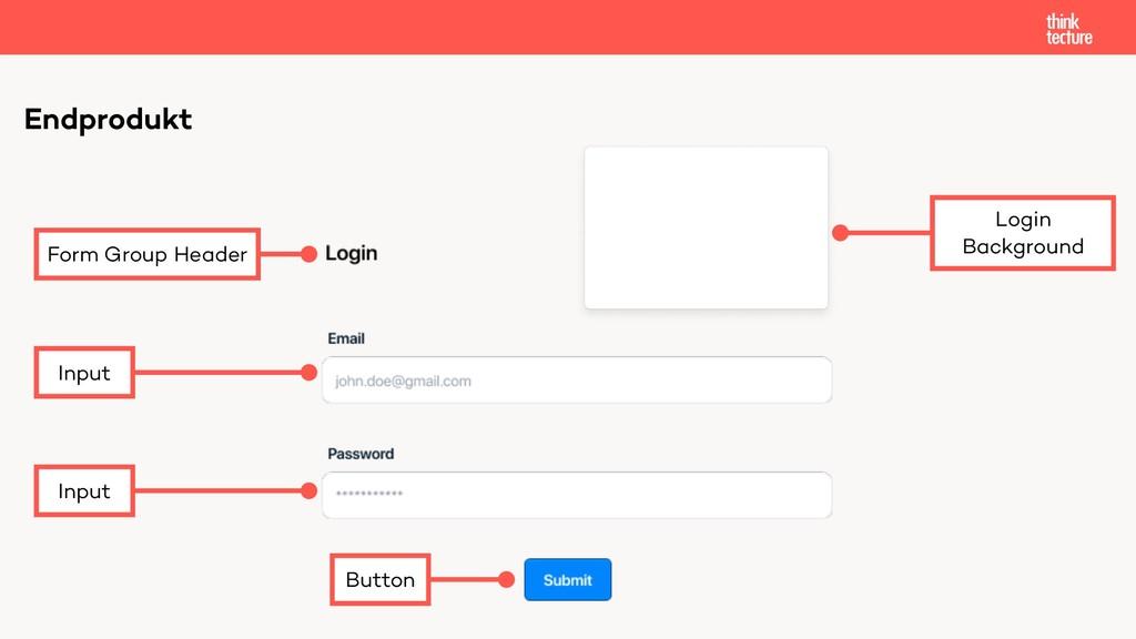 Endprodukt Form Group Header Input Input Button...