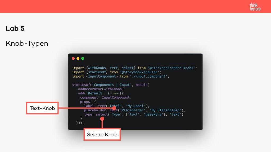 Knob-Typen Lab 5 Select-Knob Text-Knob
