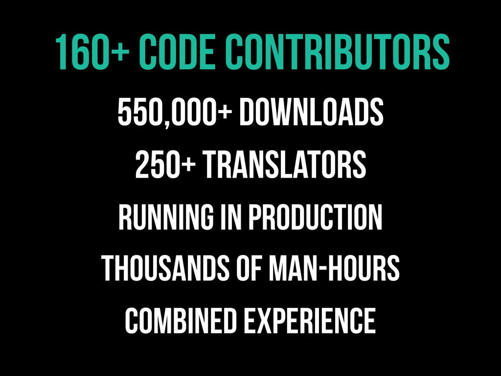 160+ Code contributors 550,000+ Downloads 250+ ...