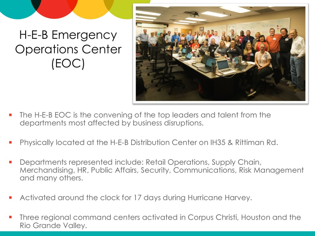 H-E-B Emergency Operations Center (EOC) The H-E...