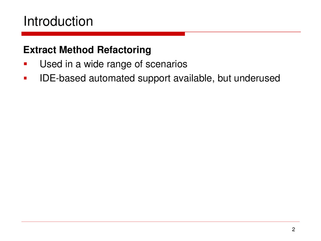 Introduction Extract Method Refactoring  Used ...