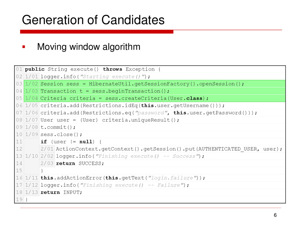 Generation of Candidates  Moving window algori...