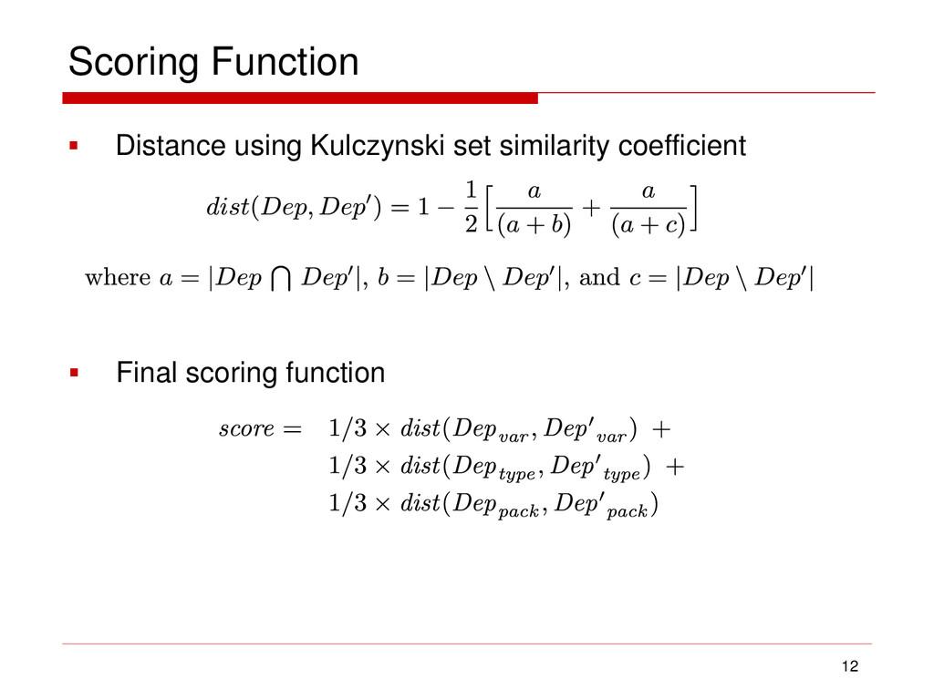 Scoring Function 12  Distance using Kulczynski...