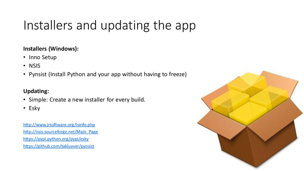 Installers and updating the app Installers (Win...