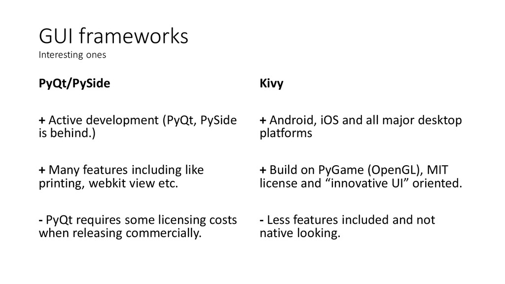 GUI frameworks Interesting ones PyQt/PySide + A...