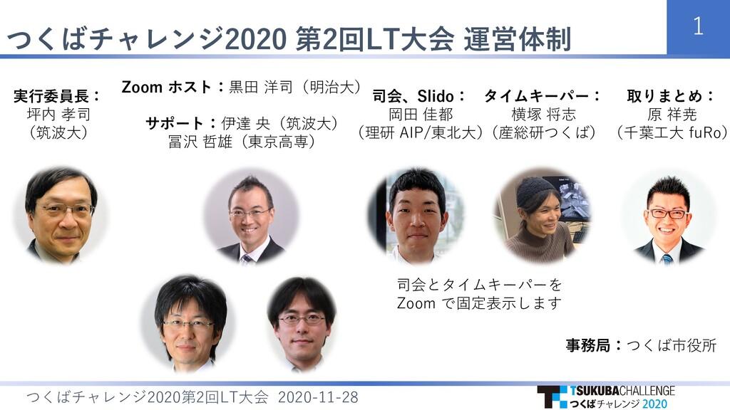 つくばチャレンジ2020 第2回LT大会 運営体制 1 つくばチャレンジ 第 回 大会 202...