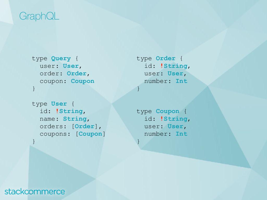 GraphQL type Query { user: User, order: Order, ...