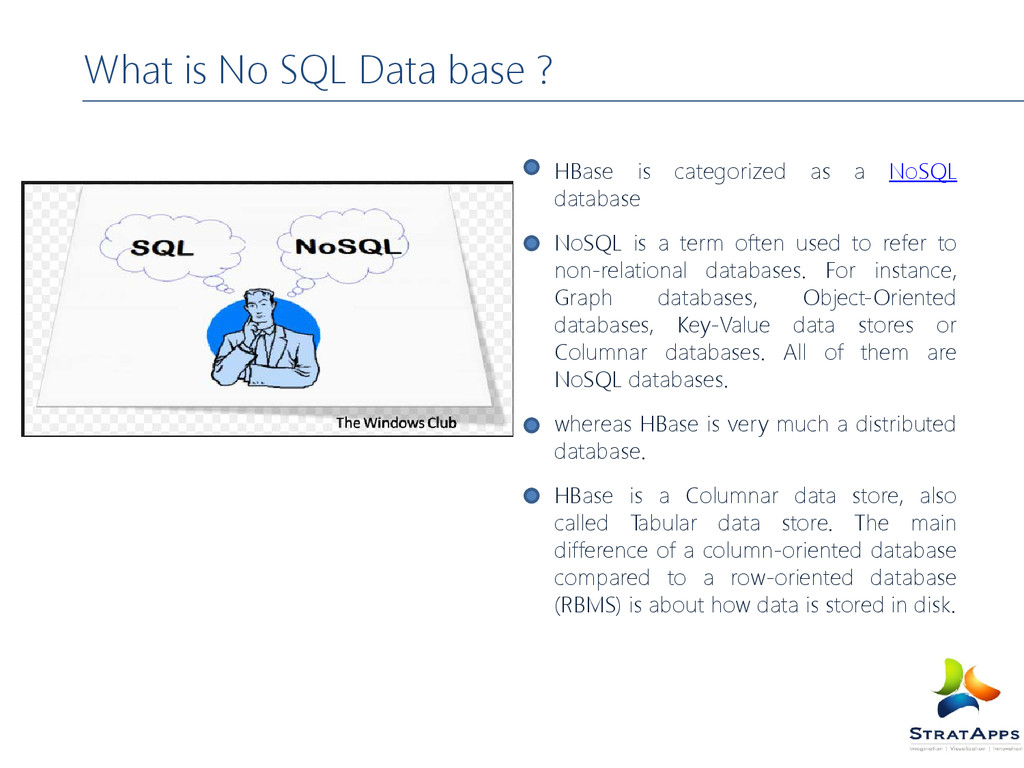 What is No SQL Data base ? HBase is categorized...