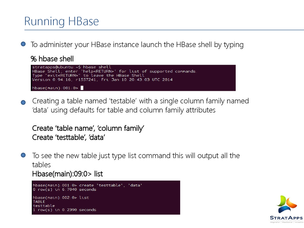Running HBase To administer your HBase instance...