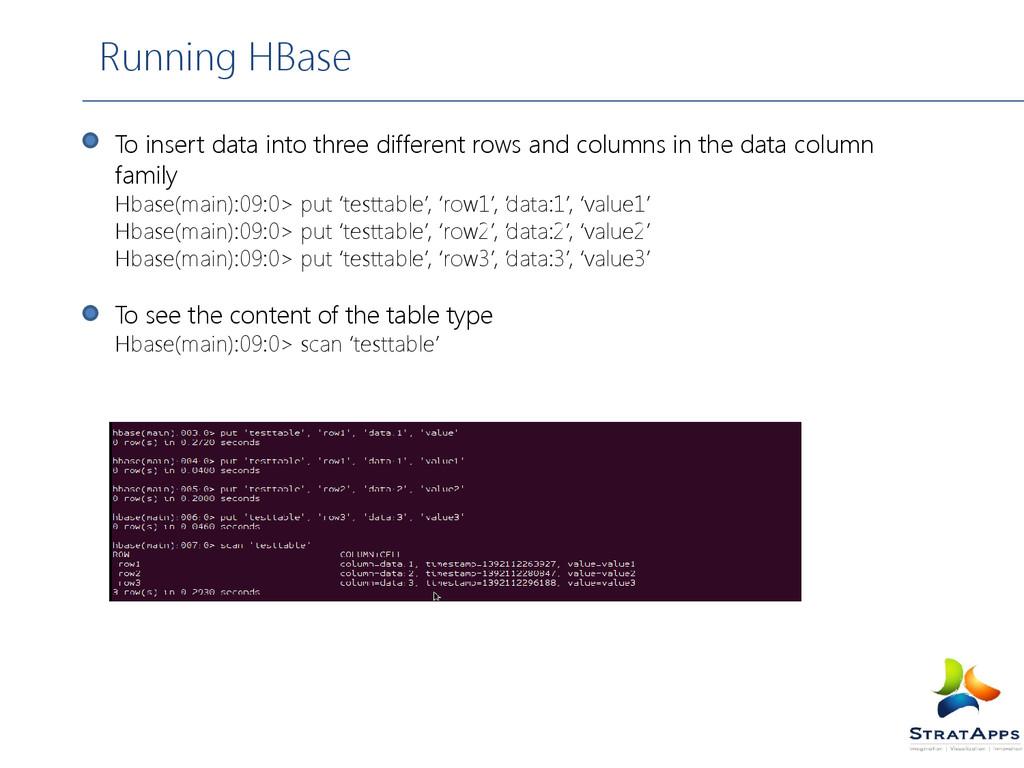 Running HBase To insert data into three differe...