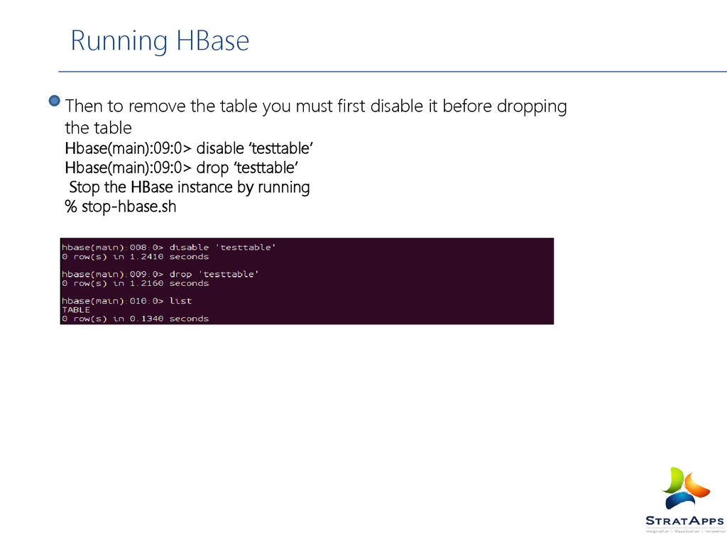 Running HBase Then to remove the table you must...