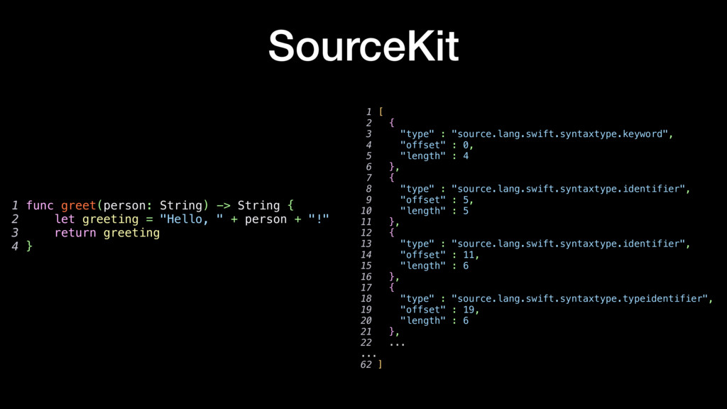 "SourceKit 1 [ 2 { 3 ""type"" : ""source.lang.swift..."