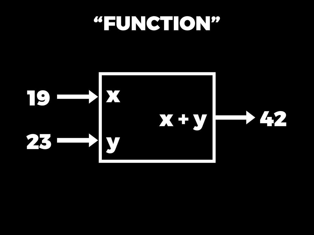 """""""FUNCTION"""" 19 23 42 x y x + y"""