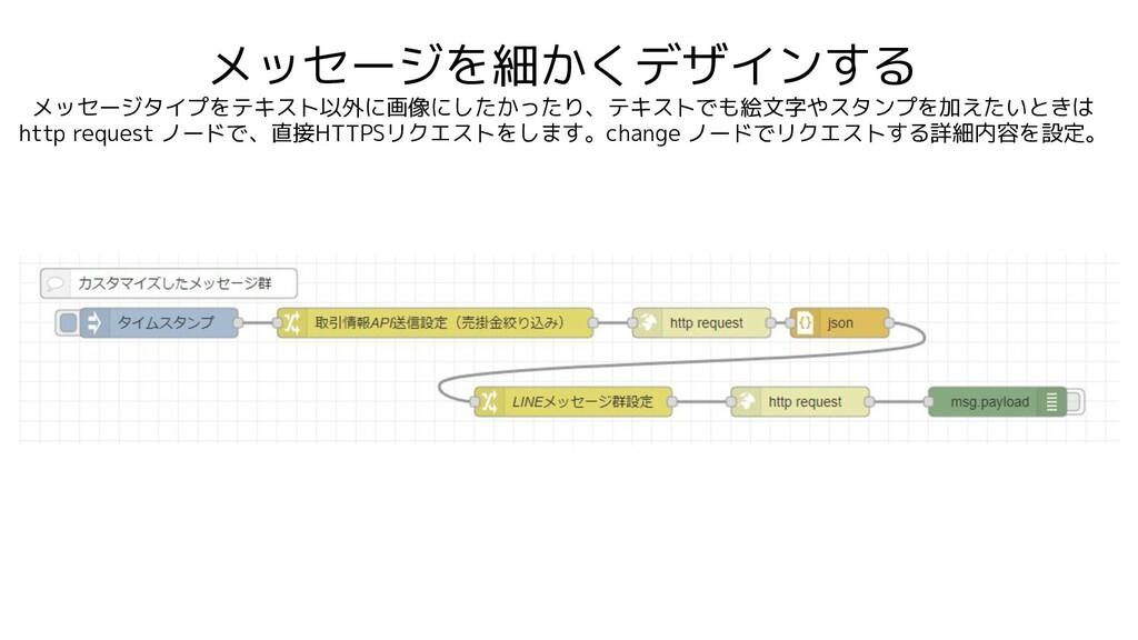 メッセージを細かくデザインする メッセージタイプをテキスト以外に画像にしたかったり、テキストで...
