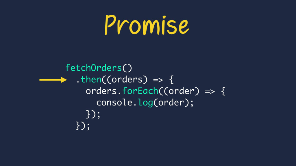 Promise fetchOrders() .then((orders) => { order...