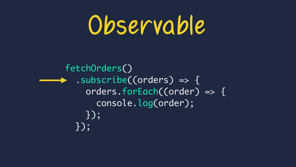 Observable fetchOrders() .subscribe((orders) =>...