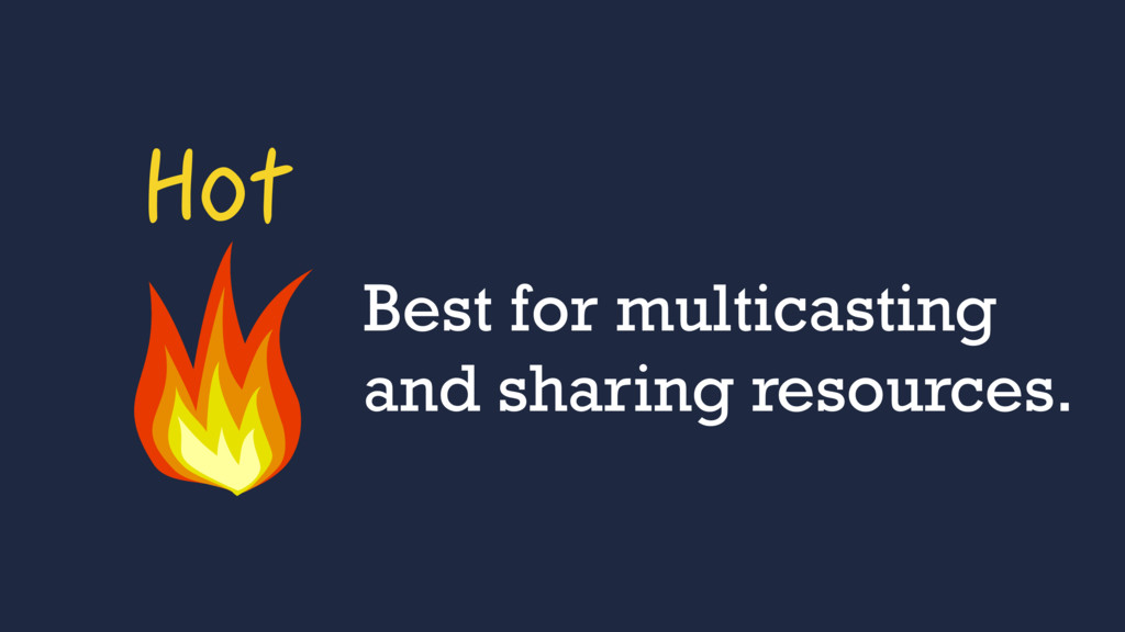 Hot Best for multicasting and sharing resources.