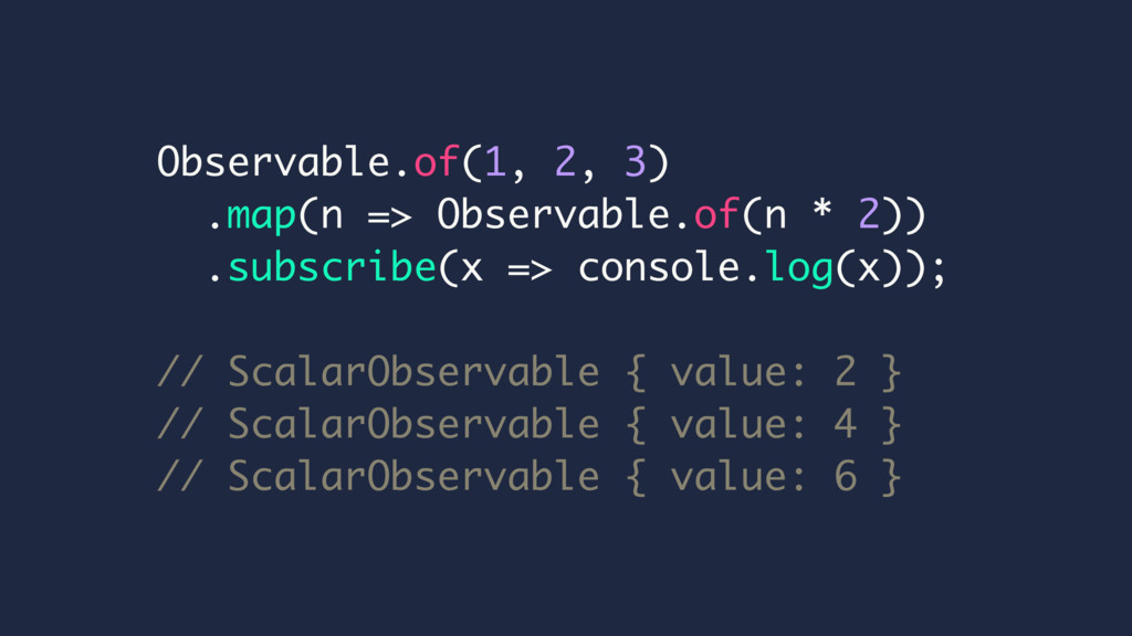 Observable.of(1, 2, 3) .map(n => Observable.of(...