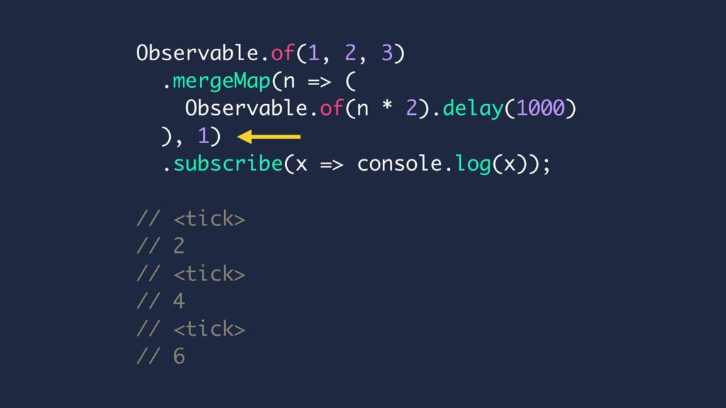 Observable.of(1, 2, 3) .mergeMap(n => ( Observa...