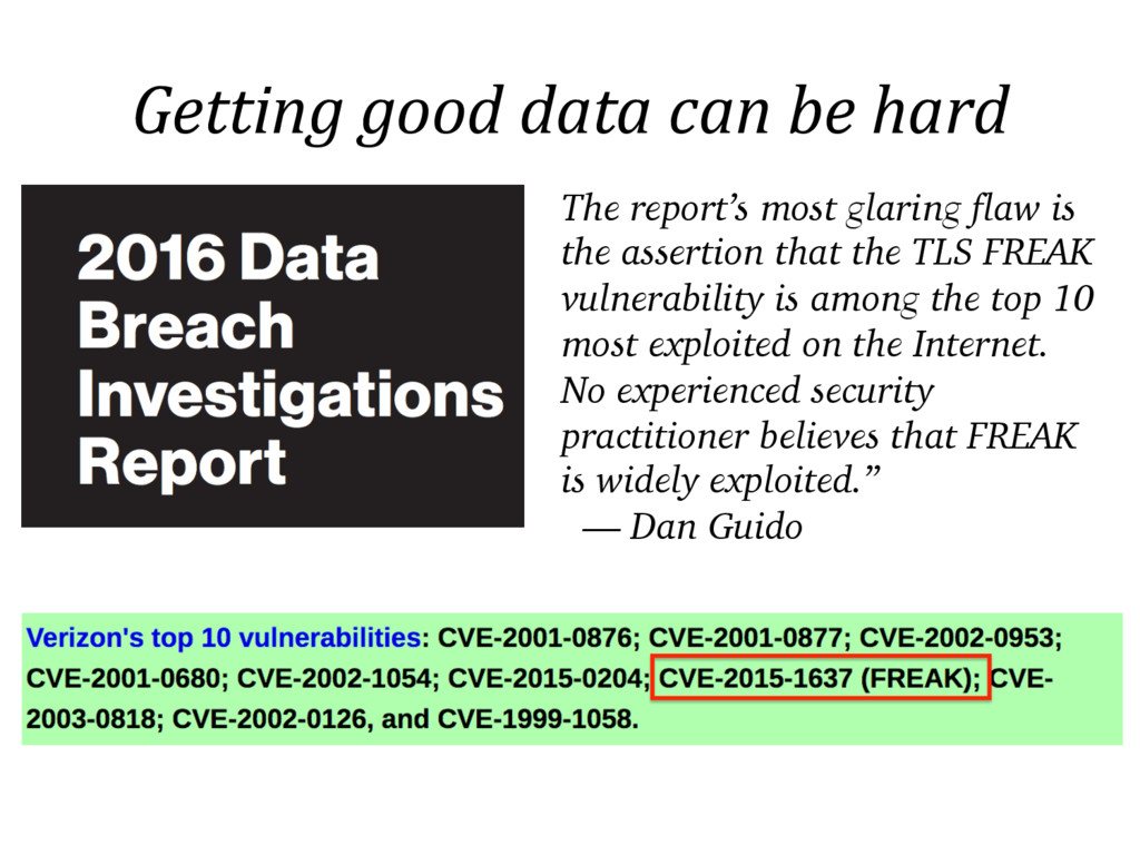 Getting good data can be hard The report's most...
