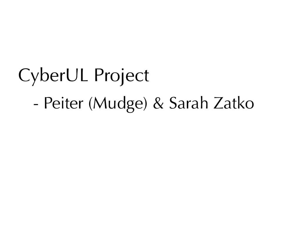 CyberUL Project - Peiter (Mudge) & Sarah Zatko