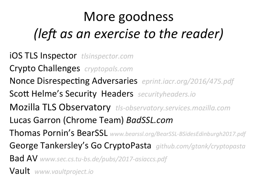 More goodness (lec as an exercise to the reader...
