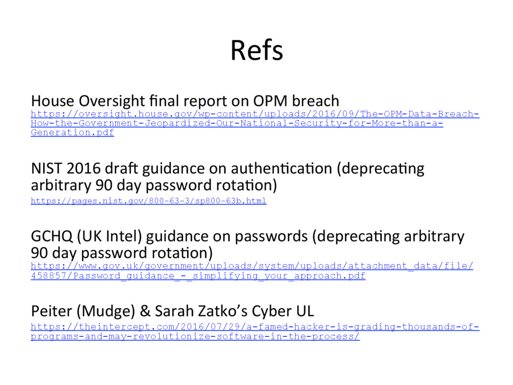 Refs House Oversight final report on OPM breach ...