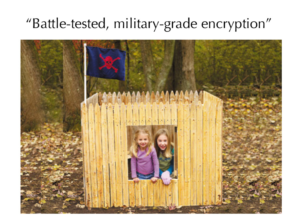 """Battle-tested, military-grade encryption"""