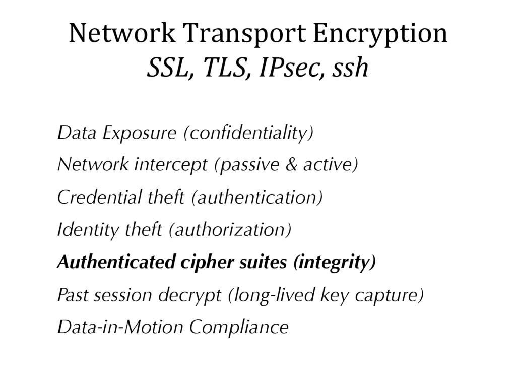 Network Transport Encryption SSL, TLS, IPsec, s...