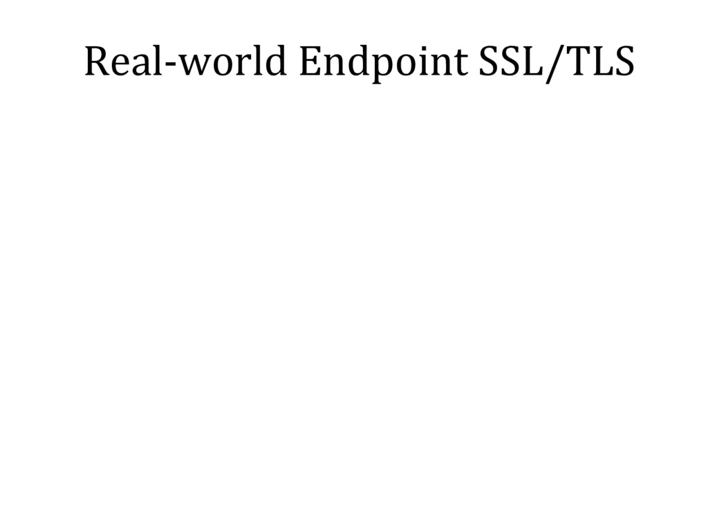 Real-world Endpoint SSL/TLS
