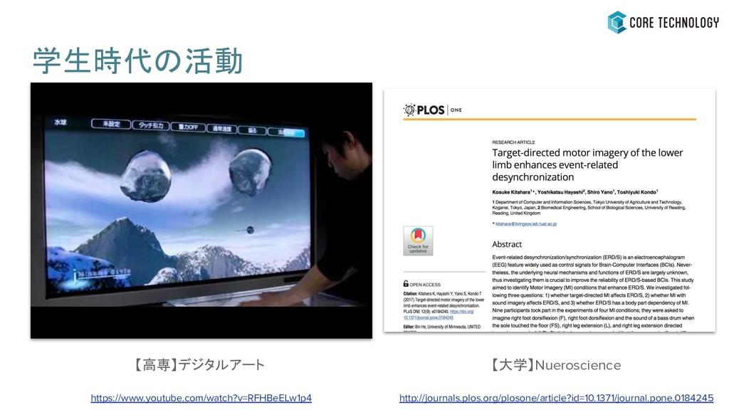 学生時代の活動 【大学】Nueroscience http://journals.plos.o...