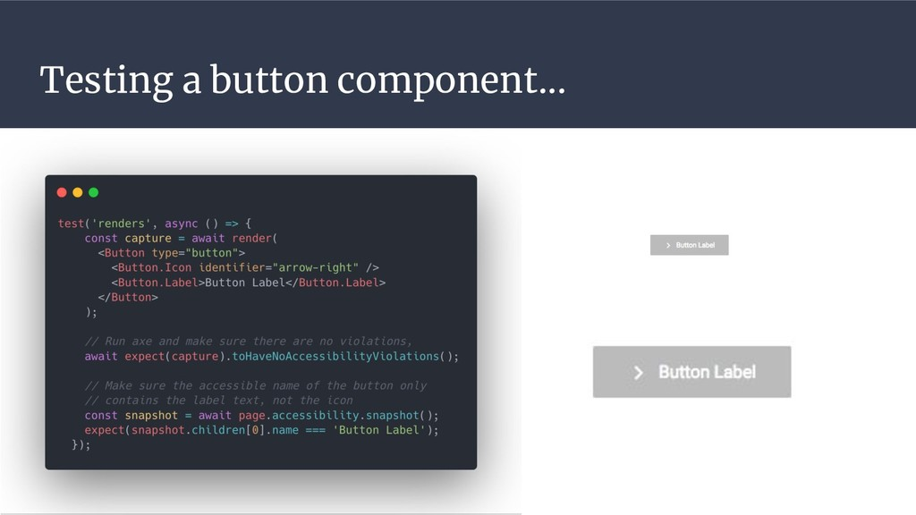 Testing a button component...
