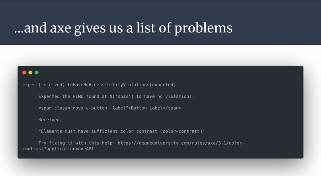 ...and axe gives us a list of problems