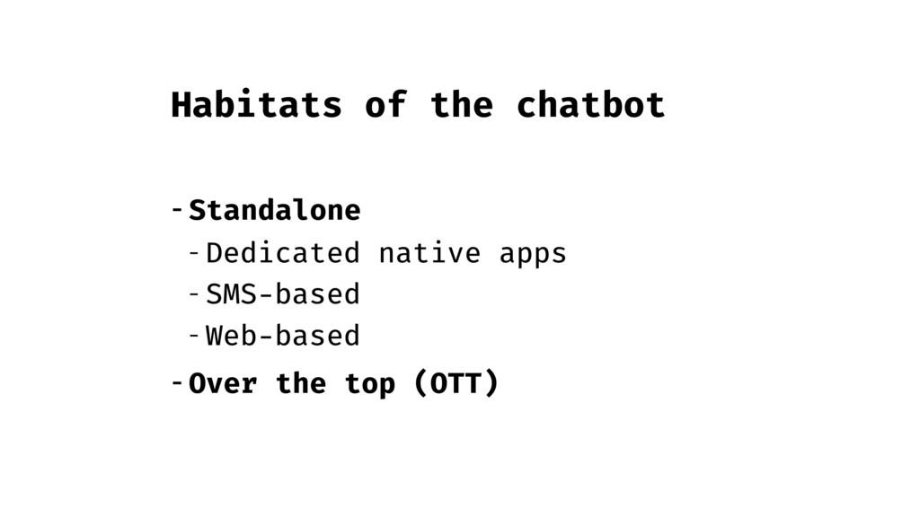 Habitats of the chatbot - Standalone - Dedicate...