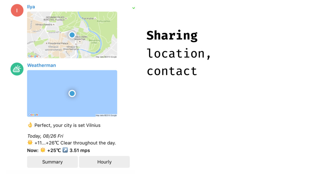 Sharing location, contact