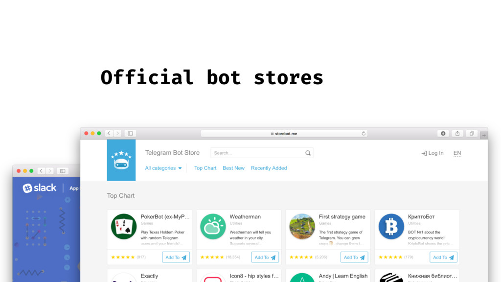 Official bot stores