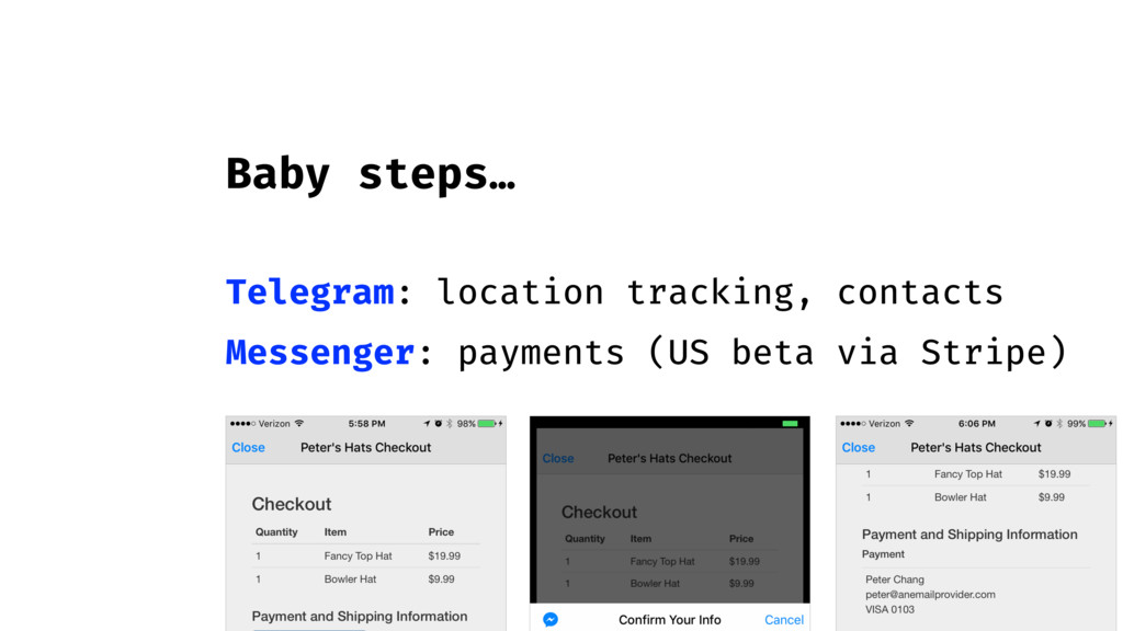 Baby steps… Telegram: location tracking, contac...