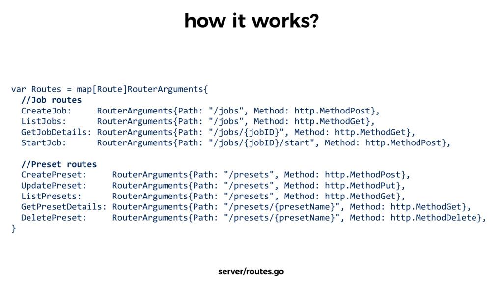 var Routes = map[Route]RouterArguments...