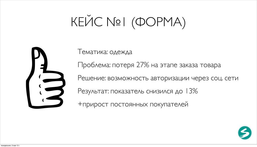 КЕЙС №1 (ФОРМА) Тематика: одежда Проблема: поте...