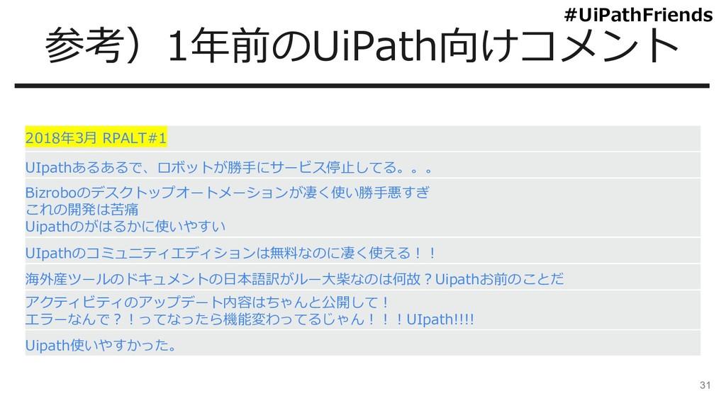 31 参考)1年前のUiPath向けコメント 2018年3月 RPALT#1 UIpathある...