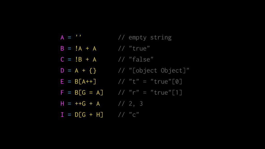 "A = '' // empty string B = !A + A // ""true"" C =..."