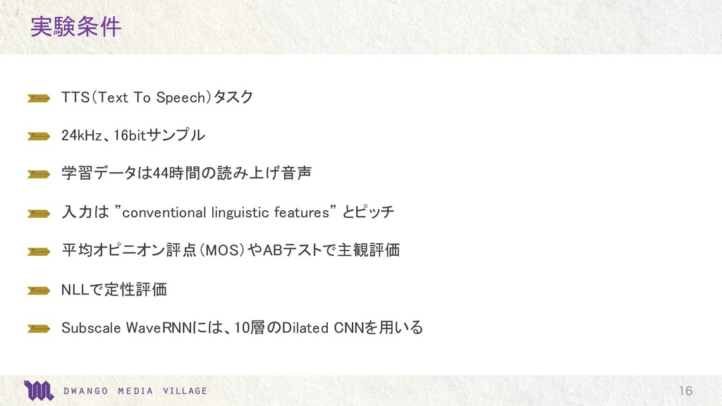 実験条件  TTS(Text To Speech)タスク  24kHz、16bitサンプル...