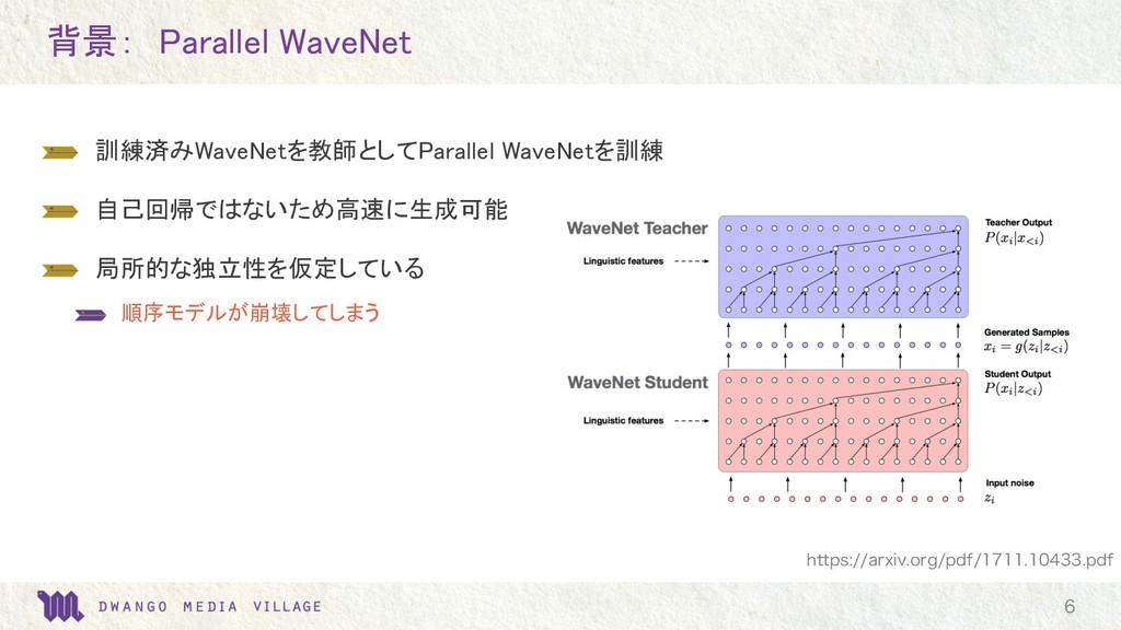 背景: Parallel WaveNet  訓練済みWaveNetを教師としてParalle...