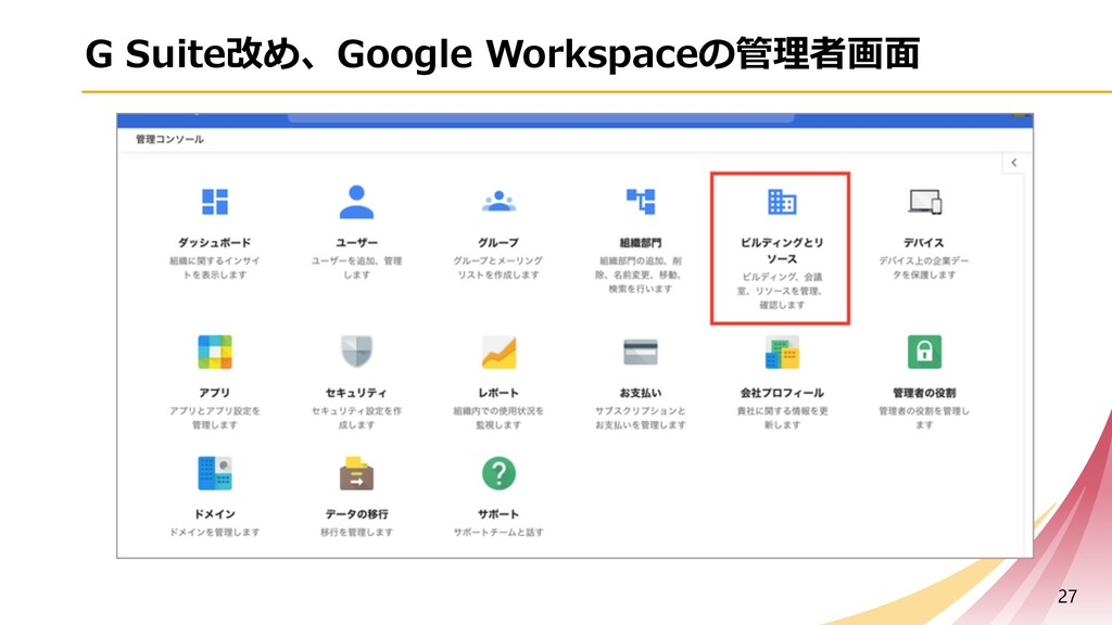 G Suite改め、Google Workspaceの管理者画⾯ 27