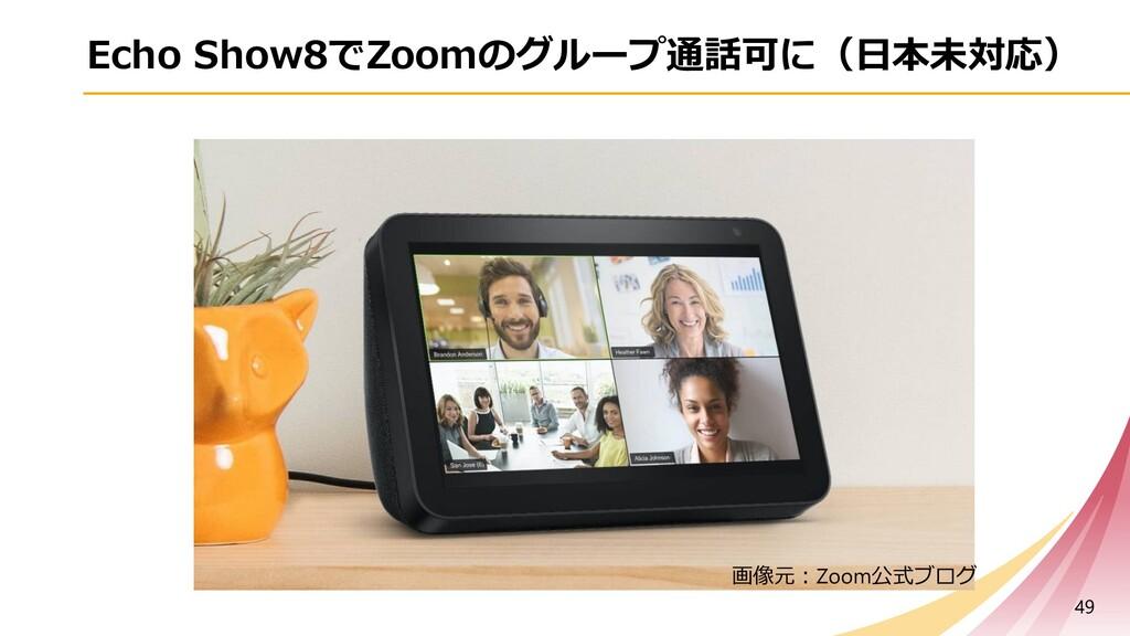 Echo Show8でZoomのグループ通話可に(⽇本未対応) 49 画像元︓Zoom公式ブログ