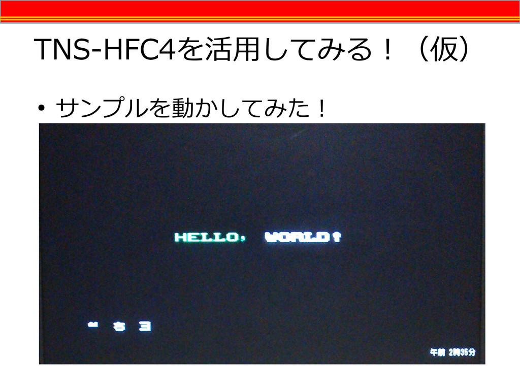 TNS-HFC4を活用してみる!(仮) ● サンプルを動かしてみた!