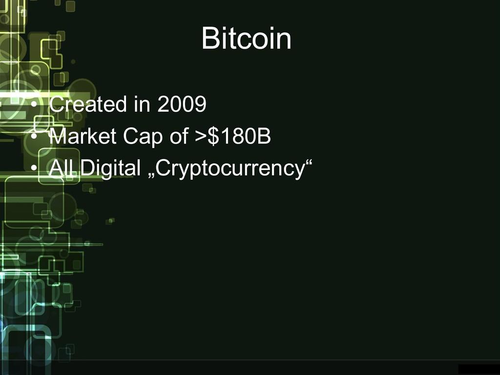 Bitcoin • Created in 2009 • Market Cap of >$180...