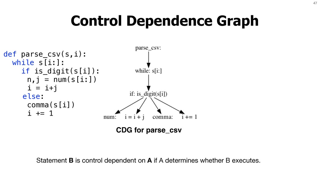 47 Control Dependence Graph Statement B is cont...